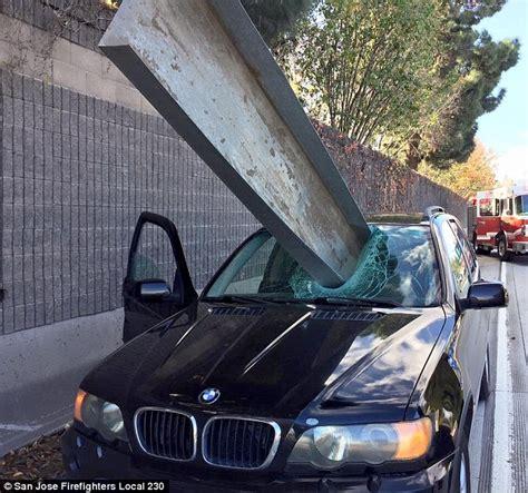 man escapes death  large metal beam impales  car