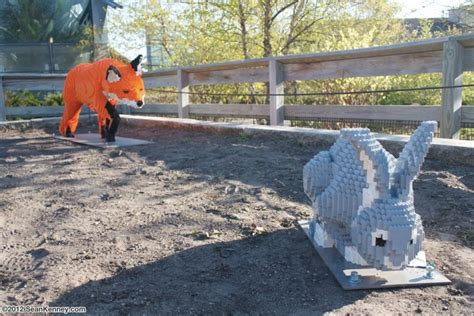 zoo filled  life sized lego animal sculptures