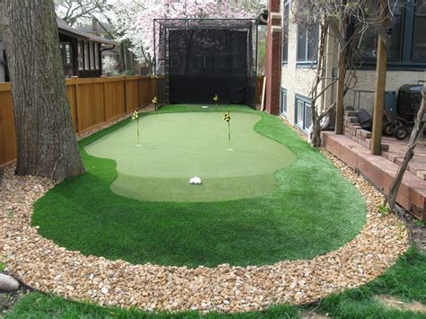 Putting Green For Backyard by Traditional Landscape Yard With Backyard Golf Cage Fence