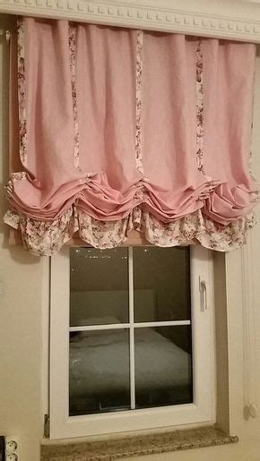 shabby chic home pink linen balloon valance french