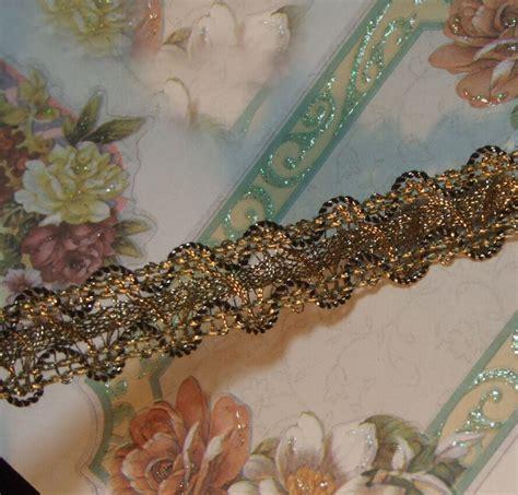 Vintage Antique Gold Metallic Ribbon Braid Lace Trim Ruche