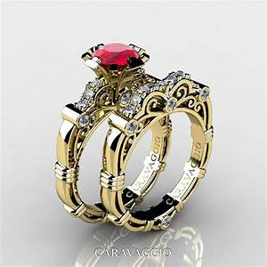 art masters caravaggio 14k yellow gold 10 ct ruby diamond With ruby wedding band rings