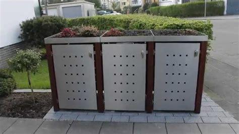 mülltonnenbox mit pflanzdach selber bauen m 252 lltonnenbox edelstahl m 252 lltonnenbox shop zaun fackler