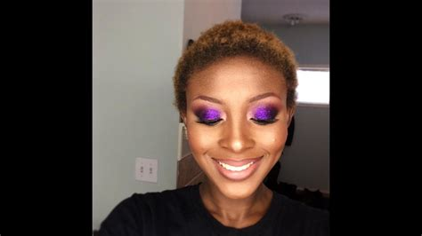 purple glitter makeup tutorial  dark skin woc