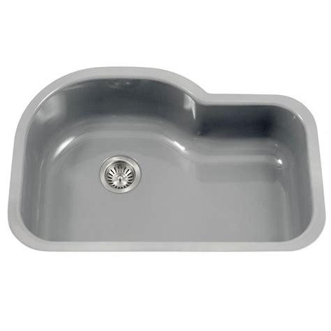 single bowl kitchen sink with offset drain houzer porcela series undermount porcelain enamel steel 31 9765