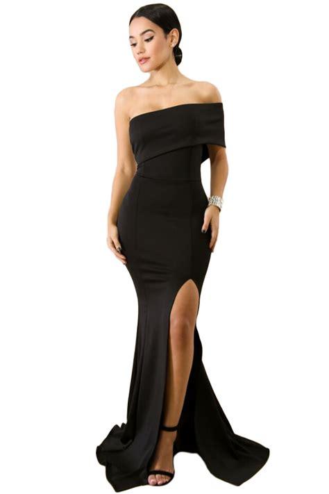 shoulder  sleeve slit prom dress fast