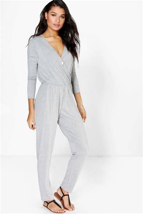womens jumpsuit boohoo womens livie wrap front jersey casual jumpsuit ebay