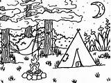 Coloring Camping Pages Camp sketch template
