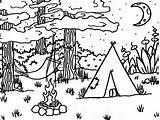 Coloring Camping Printable Camp Sheets Camper Fire Preschool Sheet Adult Activity Printables Colour Clipart Scene Tent Preschoolers Activities Adults Cartoon sketch template