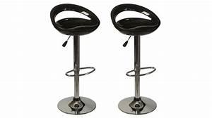 Tabouret De Bar Noir : lot de 2 tabourets de bar noir pas cher chaise design ~ Melissatoandfro.com Idées de Décoration