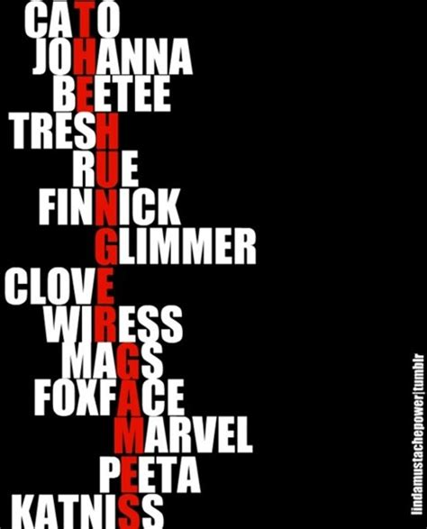 what are the names of the hunger hunger games tributes spell out quot the hunger games quot the hunger games fan club