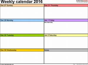 weekly calendar 2016 for excel 12 free printable templates With two week calendar template excel