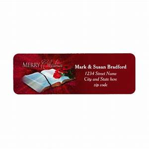 christmas bible christian return labels red snow zazzle With christian address labels