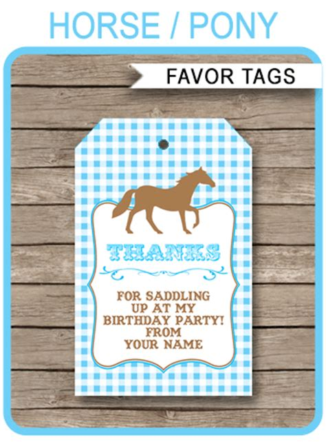 pony  horse birthday party favor tags   tags