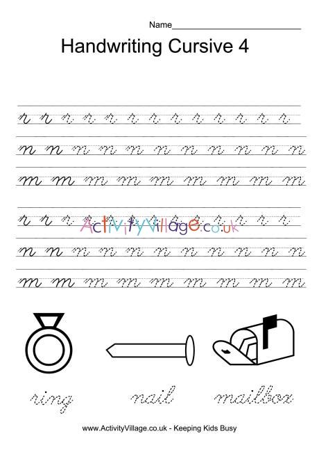 handwriting practice cursive