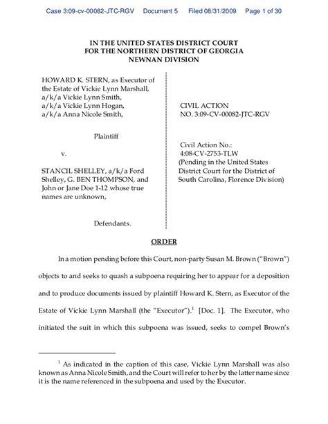 federal prosecutor cover letter order denying quash subpoena of s brown