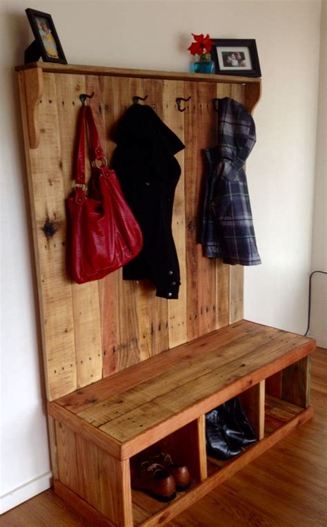 pallet wood coat hanger bench pallets   making