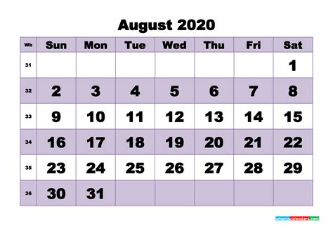 monthly printable calendar  august  week numbers