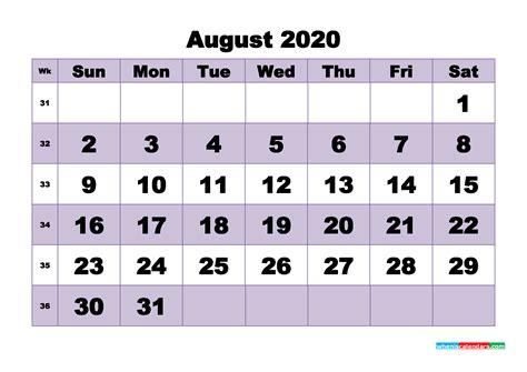 monthly printable calendar  august  week numbers