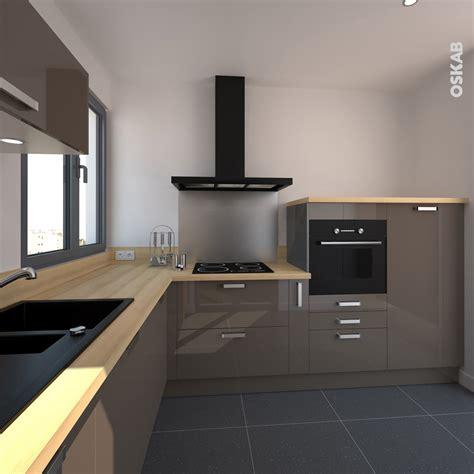 cuisine taupe et noir cuisine taupe et bois finition brillante pour une ambiance