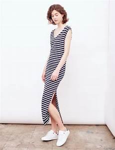 robe tube longue rayee bleu marine et blanche femme With jennyfer robe longue