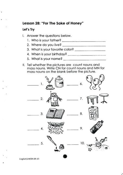 Year 2 Worksheets English