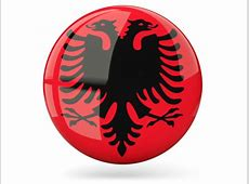 Glossy round icon Illustration of flag of Albania