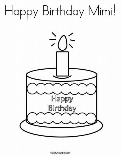 Coloring Birthday Happy Mimi Cake Twistynoodle Printable