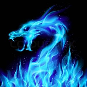 Abstract blue fiery dragon Illustration number two on ...