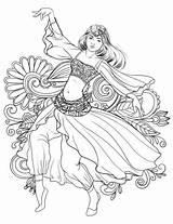 Coloring Dance Dancing Belly Gypsy Arabic Dancer Drawing Printable Mandalas Supercoloring Para Dibujos Adult Colorear Colouring Dibujar Mujeres Elegant Sketch sketch template