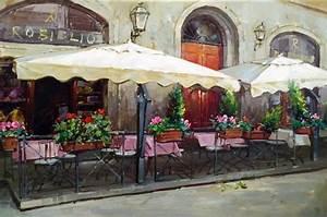VENICE CAFE ITALY Italian Tuscany Rome Wine Vineyard Provence Bar Art Painting in Painting