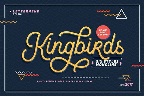 kingbirds monoline script font befontscom