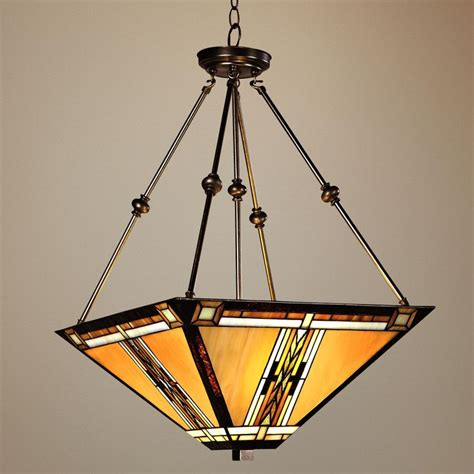 walnut mission style pendant chandelier