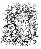 Coloring Santa Holly Bell Claus Poinsettias Pagan Printable sketch template