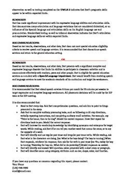 Tspeech Test Template by Speech And Language Assessment Report Sle Template