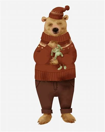 Bear Wearing Brown Hat Clothes Holding Toy