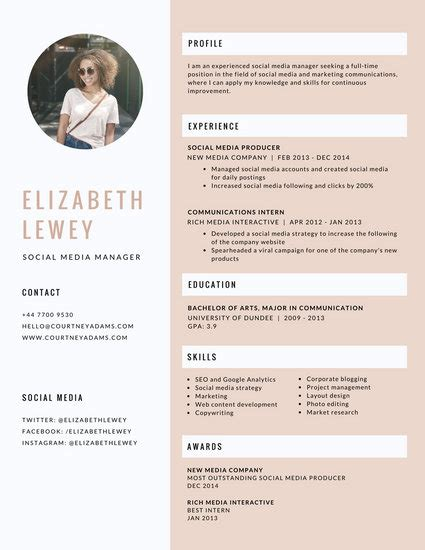 Canevas Cv by Modern Resume Templates Canva