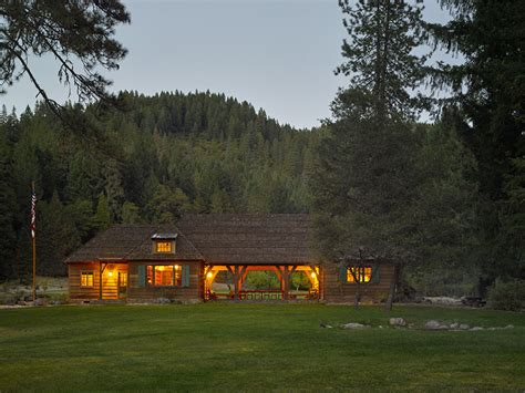 rustic fishing lodge wood cabin bozeman montana