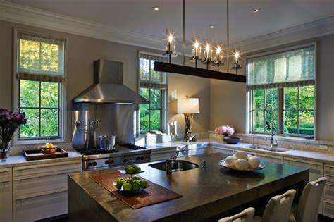 linear iron chandelier contemporary kitchen cwb architects