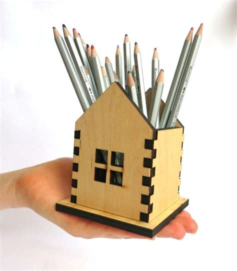 wooden pencil holder small house home decor laser