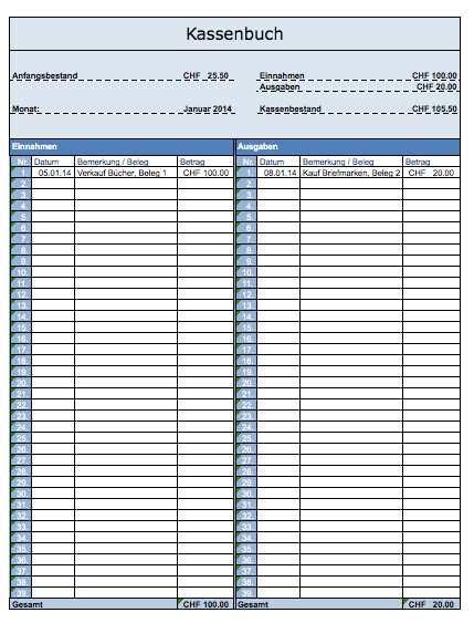 kassenbuch vorlage schweiz kostenlose excel vorlagen