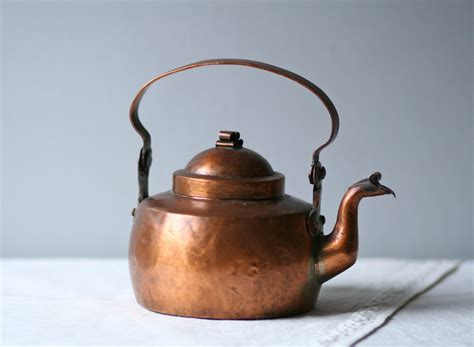 antique skultuna swedish copper metal tea kettle