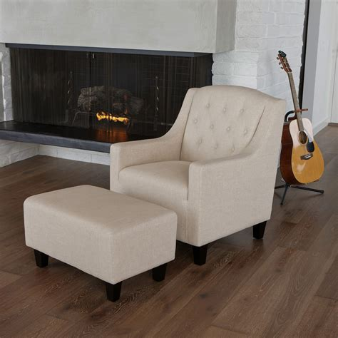Tufted Chair And Ottoman - elaine tufted fabric club chair and ottoman beige