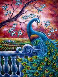 Proud Peacock Painting by Sebastian Pierre