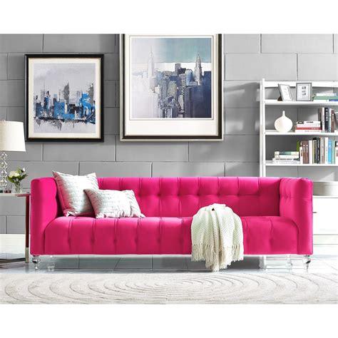 tov furniture modern bea pink velvet sofa tov
