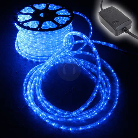 48m blue led rope light static chasing tube outdoor christmas decking bar lights ebay