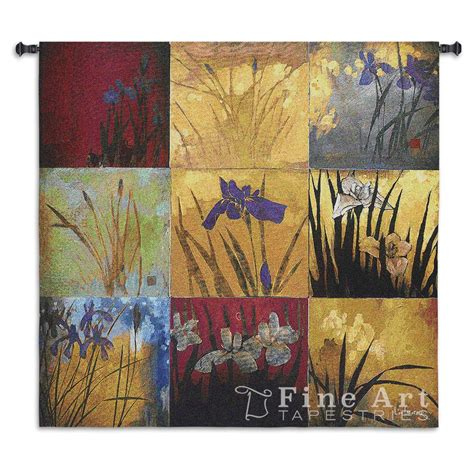 contemporary tapestry wall hanging iris nine patch picture h53 quot x w53 quot