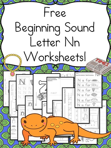 beginning sounds letter n worksheets free and