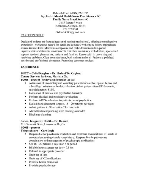 mental health resume for nurses resume psych 201512