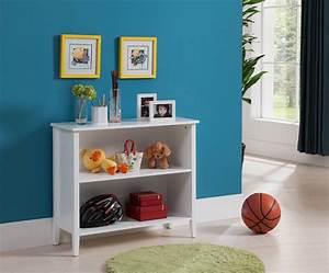 daren, white, wood, contemporary, 2, tier, shelf, kids, bookcase, storage, shelves, display, stand, organizer